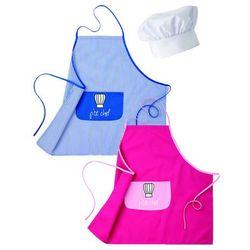 Fartuch dziecięcy z białą czapką szefa kuchni, różowy | ROBUR, Kid-Pack
