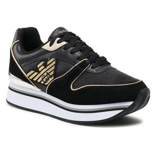 Damskie obuwie sportowe, Sneakersy EMPORIO ARMANI - X3X046 XM698 K476 Black/Light Gold