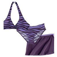 Stroje kąpielowe dziecięce, Bikini+spódniczka dziewczęce (3 cz.) bonprix ciemny lila - jasny lila zebra