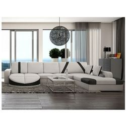 Sofa narożna prawostronna z materiału skóropodobnego MINTIKA - Biały z czarnymi pasami