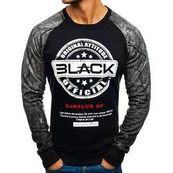 Bluza męska bez kaptura z nadrukiem czarno-szara Denley DD258