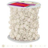 Pozostałe artykuły szkolne, Girlanda perłowa sznurek z perełkami kremowe 20m - kremowy / perłowy
