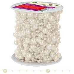 Girlanda perłowa sznurek z perełkami kremowe 20m - kremowy / perłowy