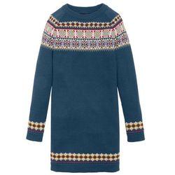 Sukienka dzianinowa w norweski wzór bonprix ciemnoniebieski wzorzysty