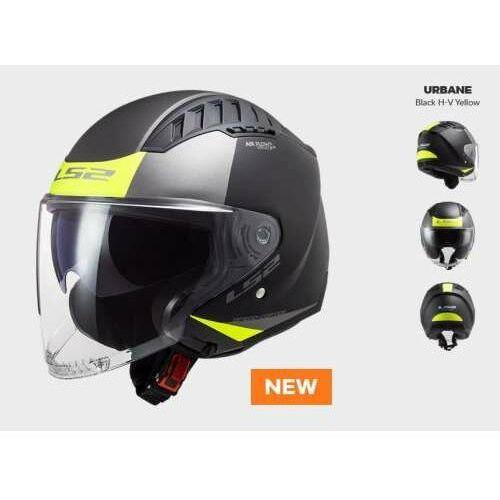 Kaski motocyklowe, KASK MOTOCYKLOWY KASK LS2 OF600 COPTER URBANE MATT BLACK H-V YELLOW - Nowość 2021 roku!