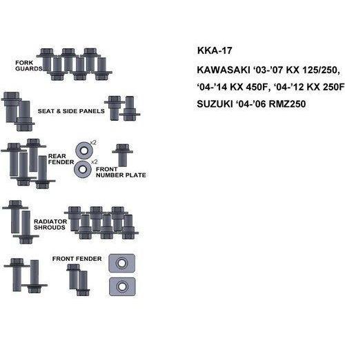 Pozostałe akcesoria do motocykli, ZESTAW ŚRUB KEITI DO KAWASAKI 03-07 KX 125/250 04