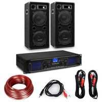 Głośniki i monitory odsłuchowe, Electronic-Star Zestaw składający się ze wzmacniacza Hi-Fi i kolumn, wzmacniacz 2 x 350 W, 2 x 10-calowa kolumna, 450 W RMS