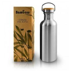 BAMBAW Butelka metalowa ze stali nierdzewnej z bambusową nakrętką 1L