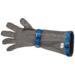 Rękawica metalowa z niebieskimi paskami, bardzo długa, rozmiar L | GIESSER, 9590 19