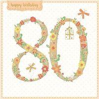 Pozostałe artykuły szkolne, Karnet kwadrat z kopertą Urodziny 80
