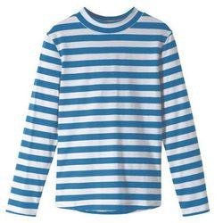 Shirt z golfem i długim rękawem bonprix niebieskozielono-biały w paski