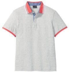 Shirt polo z kontrastowym kołnierzykiem bonprix jasnoszary melanż