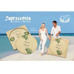 Zaproszenia ślubne z drewna - tropikalne - cyfrowy druk UV - ZAP042