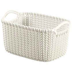 biały kosz prostokątny Knit XS