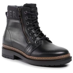 Trapery TOMMY HILFIGER - Textured Leather Mix Boot FM0FM02418 Black 990