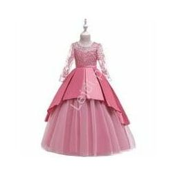 Wiktoriańska długa sukienka dziecięca w barokowym stylu w kolorze pustynnego różu 233
