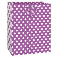 Opakowania prezentowe, Torebka prezentowa fioletowa w białe kropeczki 27x32 cm - 1 szt.