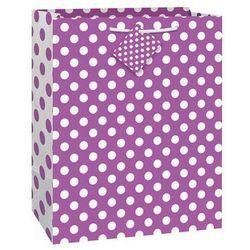 Torebka prezentowa fioletowa w białe kropeczki 27x32 cm - 1 szt.