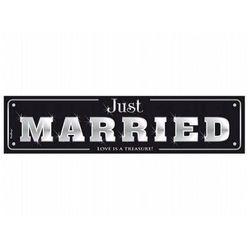 Tablica rejestracyjna tekturowa czarna Just Married - 50 x 11,5 cm - 1 szt.