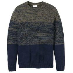 Sweter w wygodnym fasonie bonprix ciemnooliwkowo-ciemnoniebieski melanż