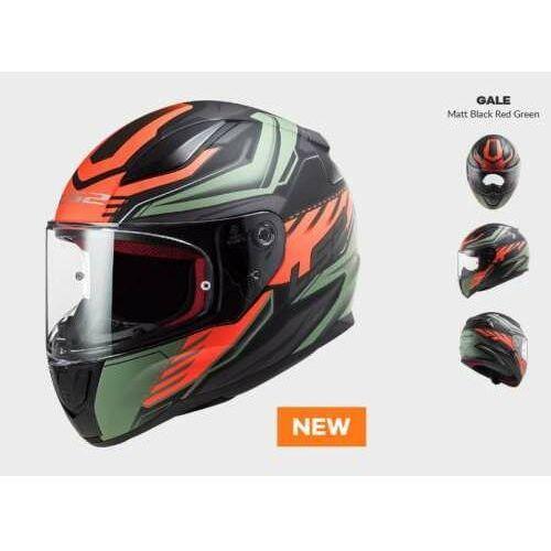 Kaski motocyklowe, KASK MOTOCYKLOWY COMFORT LS2 FF353 RAPID GALE MATT BLACK RED GREEN - Nowość 2021 roku