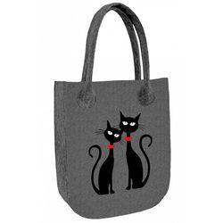 Filcowa torebka damska shopperka Czarne Koty - czarny ||szary