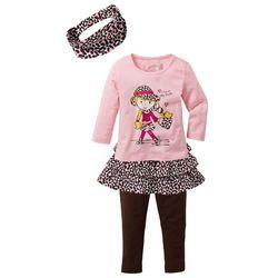 Shirt + spódnica + legginsy + opaska na włosy (4 części) bonprix pudrowy jasnoróżowy - ciemnobrązowy