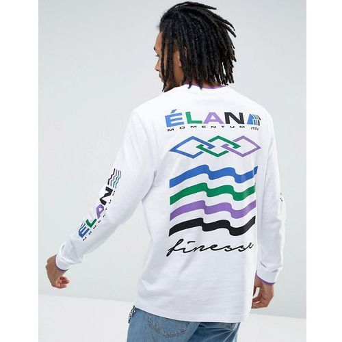 Koszulki z długim rękawem, ASOS Relaxed Long Sleeve T-Shirt With Elan Print & Tipped Rib - White