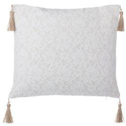 Poduszka dekoracyjna koronka z frędzlami beżowa 45 x 45 cm