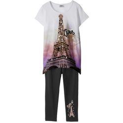Shirt + legginsy 3/4 (2 części) bonprix biało-czarny