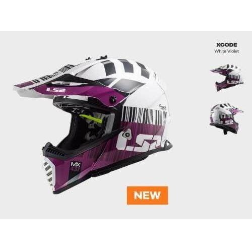 Kaski motocyklowe, KASK MOTOCYKLOWY ENDURO OFF ROAD LS2 MX437 FAST EVO XCODE WHITE VIOLET - nowość 2021 roku