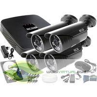 Zestawy monitoringowe, Zestaw monitoringu: Rejestrator BCS-XVR0401E + 4x BCS-TQE3200IR3 + 1TB + Akcesoria