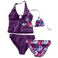 Stroje kąpielowe dziecięce, Bikini+tankini (4 części) bonprix ciemny lila z nadrukiem