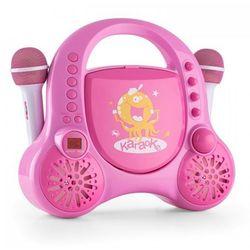 Rockpocket dziecięcy system karaoke CD AUX 2 mikrofony, zestaw naklejek, różowy