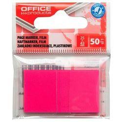 Zakładki indeksujące OFFICE PRODUCTS, PP, 25x43mm, 1x50 kart., zawieszka, różowe