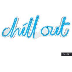 SELSEY Neon na ścianę Letely z napisem Chill Out niebieski