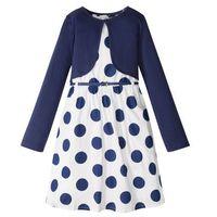 Zestawy odzieżowe dziecięce, Sukienka dziewczęca + pasek + bolerko (3 części) bonprix biało-niebieski w kropki