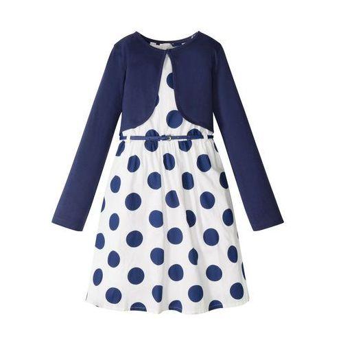 Komplety odzieży dla dzieci, Sukienka dziewczęca + pasek + bolerko (3 części) bonprix biało-niebieski w kropki