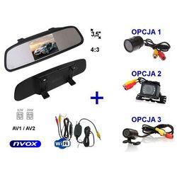 """Zestaw Monitor LCD 3,5"""" w lusterku wstecznym 12V 24V Samochodowa kamera cofania i Bezprzewodowy moduł WiFi"""