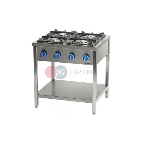 Piece i płyty grzejne gastronomiczne, Kuchnia gazowa wolnostojąca 4-palnikowa z półką 22,5 kW Stalgast 999523