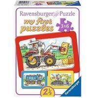 Puzzle, RAVENSBURGER My first Puzzle - puzzle w ramce Dżwig, ciężarówka, traktor, 6 elementów