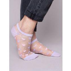 Skarpety stopki damskie transparentne fioletowe w serca