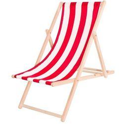 Leżak ogrodowy drewniany z materiałem czerwono-białe pasy