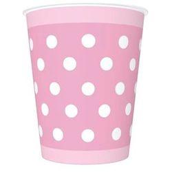 Kubeczki urodzinowe różowe w białe kropki - 250 ml - 8 szt.