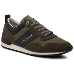 Sneakersy TOMMY HILFIGER - Iconic Material Mix Runner FM0FM02273 Olive Night 010