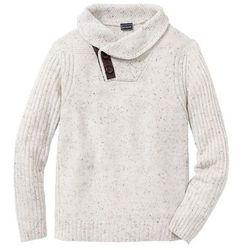 Sweter Regular Fit bonprix ciemnoniebiesko-czerwono-biel wełny wzorzysty