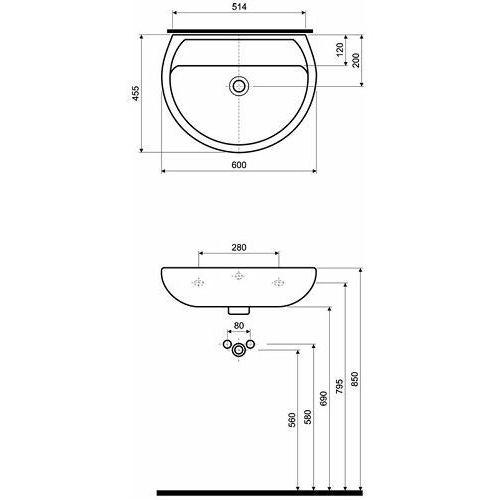 Umywalki, Koło Rekord 60 x 46 (K91060000)
