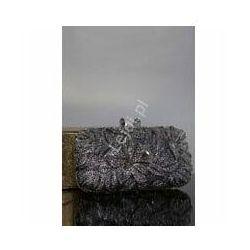 Torebka wieczorowa, ślubna z kryształkami z kwiatami, osadzane ręcznie kryształkami nr 12