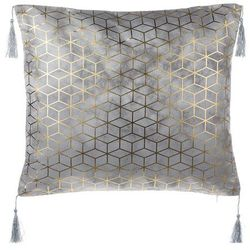 Poduszka dekoracyjna wzorzysta z frędzlami srebrna 45 x 45 cm