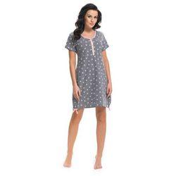 Koszula nocna ciążowa i do karmienia TM. 9202 DN - Grey jaskółki z różową lamówką